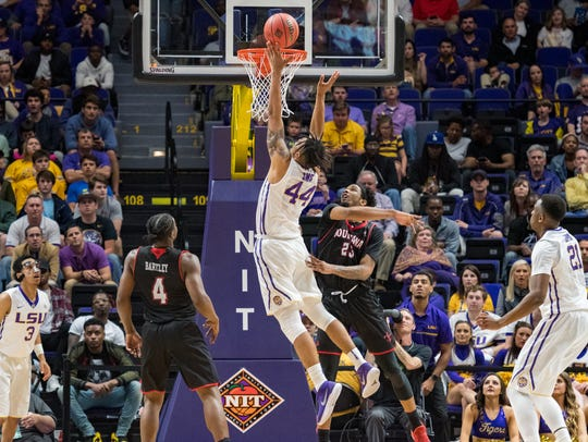 Wayde Sims takes it to the basket as the Louisiana