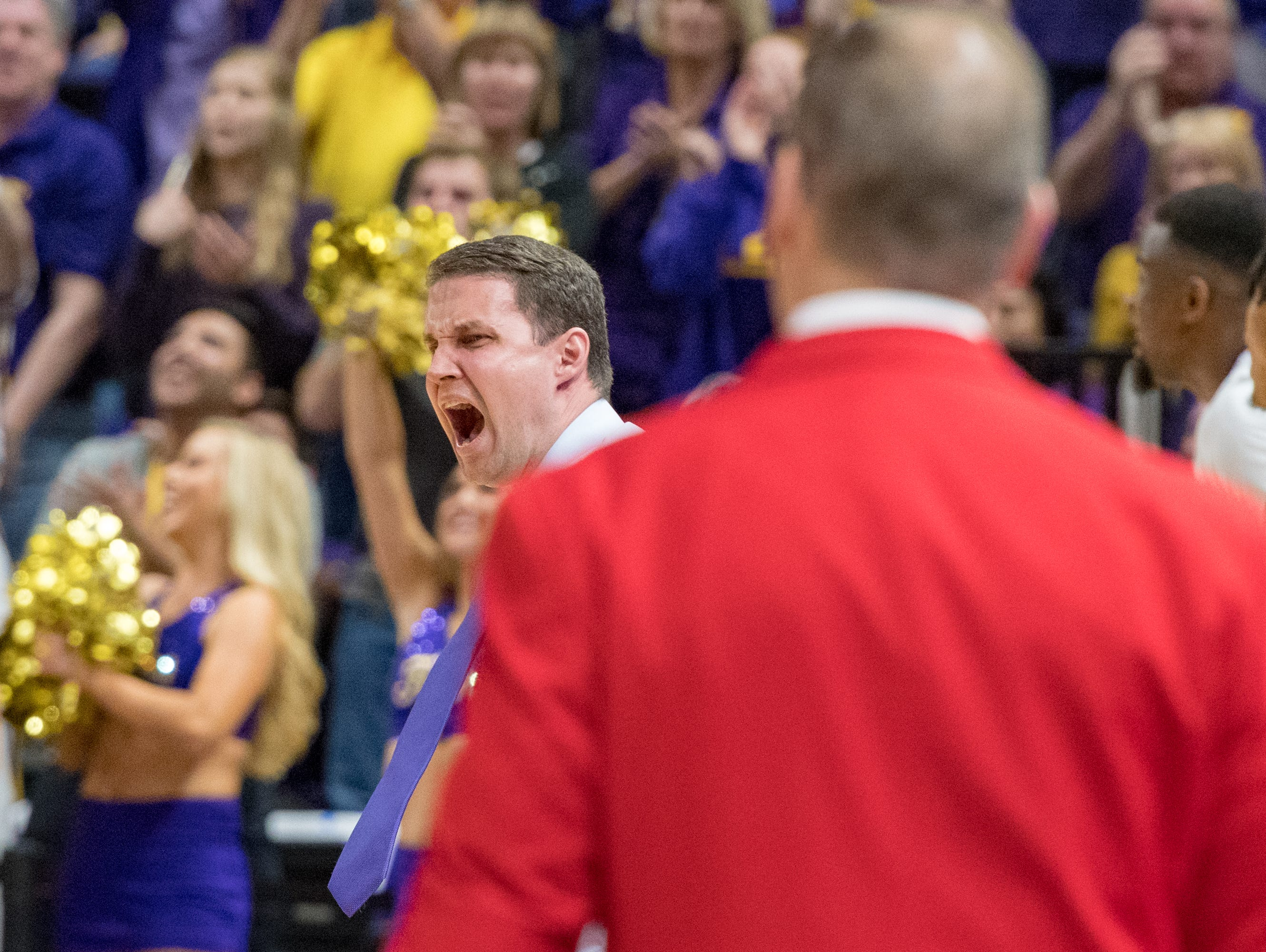 LSU head coach Will Wade as the Louisiana Ragin' Cajuns take on the LSU Tigers in the Pete Maravich Assembly Center. Baton Rouge, LA. Wednesday, March 14, 2018.