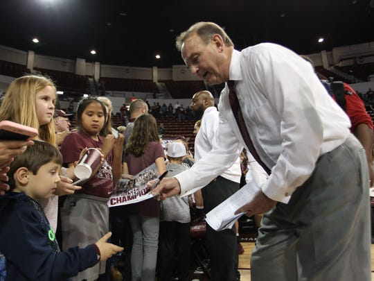 Mississippi State head basketball coach Vic Schaefer signs autographs for fans following the game. Mississippi State played Oklahoma State in the second round of the NCAA Women's basketball tournament at Humphrey Coliseum on Monday, March 19, 2018. Photo by Keith Warren