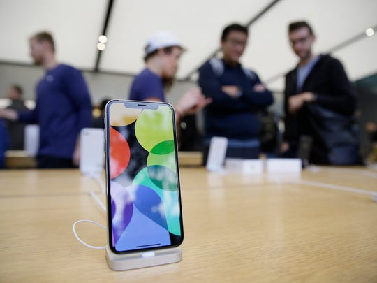 The new iPhone X is seen on display at the Apple Union