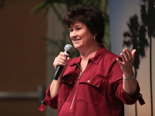 Denise Goolsby shares a story at the Coachella Valley