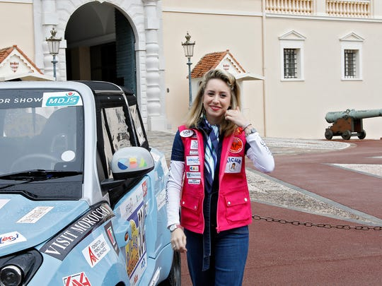 "Jazmin Grace Grimaldi attends the 28th ""Rallye Aicha Des Gazelles Du Maroc"" on March 17, 2018 in Monaco, Monaco."