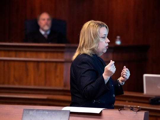 Prosecutor Jane Starnes, with the attorney generals office, gives an opening statement in the aggravated assault with a deadly weapon trial of Judge Guy Williams on Tuesday, March 20, 2018. The 148th District Court judge, who has since been suspended from the post and is not seeking re-election, is charged with two second-degree felony counts of aggravated assault with a deadly weapon. He's been out on bail since his November indictment.