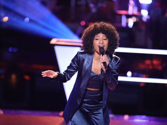 "Newark native Kelsea Johnson performs on ""The Voice"" Tuesday night on NBC."