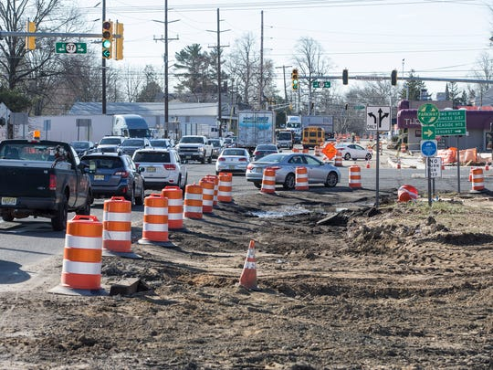 Construction continues at the intersection of Routes 37 and 166. Looking south on Main Street, Rt. 166 across Rt. 37