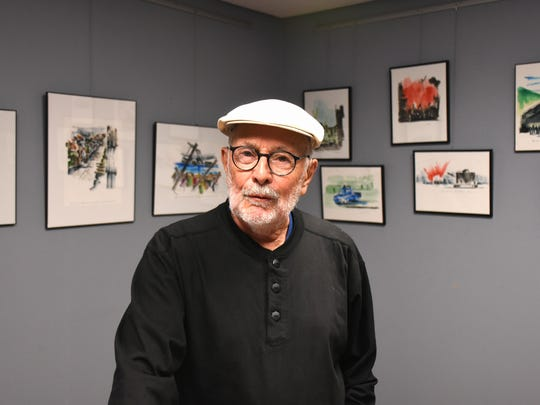"""Donald Sunshine in Lat Petite Galerie. His exhibit """"Art as Commentary"""" is on display at the Marco Island Center for the Arts through Mar. 27."""