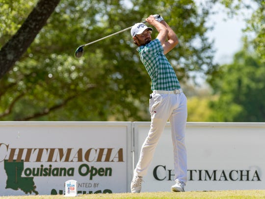 Curtis Luck tees off during the 2018 Web.com Tour's Chitimacha Louisiana Open at Le Triomphe. The first round of this year's tournament opens Thursday.