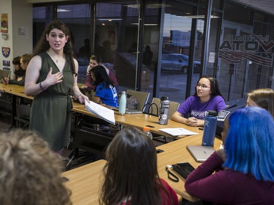 Pinnacle High School student Jamie Horowitz, 18, speaks with students during a planning meeting for the upcoming March For Our Lives.