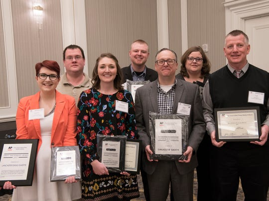 The Chillicothe Gazette and Lancaster Eagle-Gazette took home a total of 22 awards at the annual 2017 Associated Press Society of Ohio contest. First row (L-R): Trista Thurston, Spencer Remoquillo, Editor Mike Throne, and Tom Wilson. Second row (L-R): Robert McGraw, Derrick Webb, and Jona Ison.