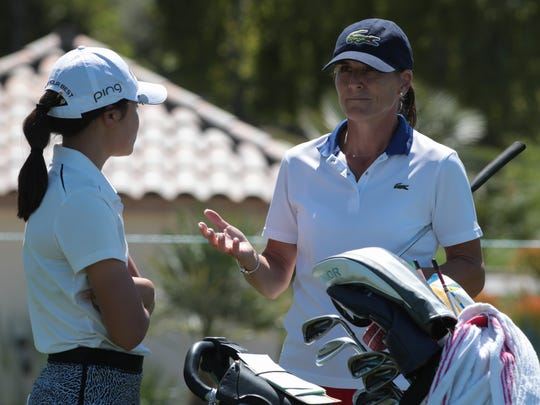 Patricia Meunier-Lebouc talks with Ashley Menne at the ANA Junior Inspiration in Rancho Mirage, Calif., Sunday, March 25, 2018.  The ANA Inspiration pairs former LPGA players with juniors to mentor them during the tournament.