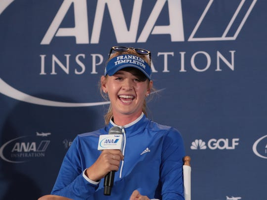 Jessica Korda speaks at a press conference at the ANA