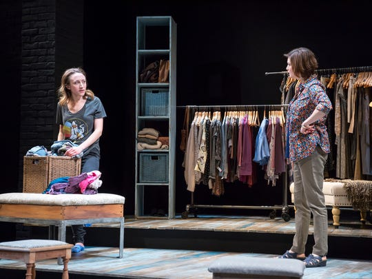 "A tempestuous mother-daughter relationship between Lexie (Olivia Cygan, left) and Nora (Mary Bacon) is one of the central dramatic elements in Allyson Currin's ""Sooner/Later."" The world premiere production of the play runs through April 21 in the Playhouse in the Park's Shelterhouse Theatre."