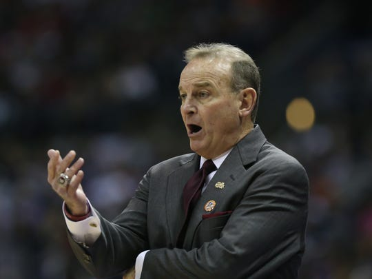 Mississippi State head basketball coach Vic Schaefer calls a play in the first quarter. Mississippi State played Louisville in the semifinal round of the NCAA Women's Basketball Tournament in Columbus, Ohio, on Friday, March 30, 2018. Photo by Keith Warren