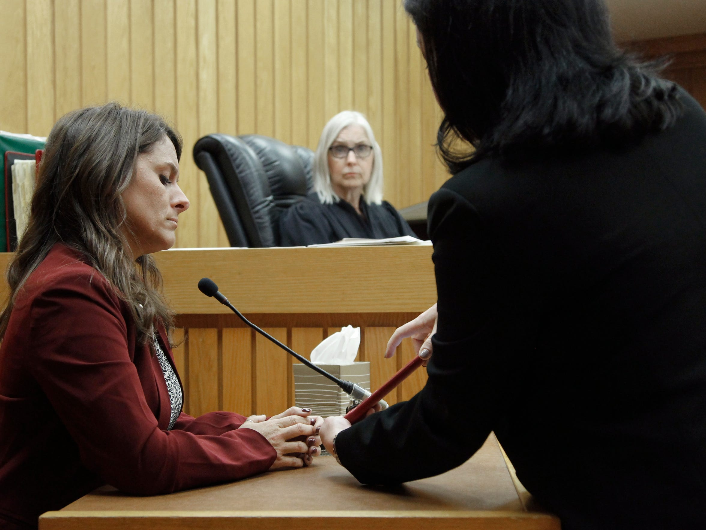 Shannon Smith, right, an attorney for Larry Nassar, questions Det. Lt. Andrea Munford on Friday, June 30, 2017, during Larry Nassar's preliminary hearing before Judge Julie Reincke in Eaton County District Court in Charlotte, Michigan.