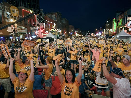 Predators fans pack Broadway during Nashville's Stanley Cup Final run in 2017.
