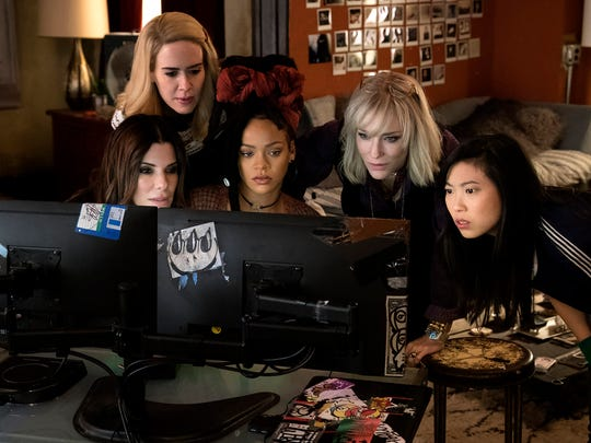 "Debbie Ocean (Sandra Bullock, left) plots a heist with her crew (Sarah Paulson, Rihanna, Cate Blanchett and Awkwafina) in ""Ocean's 8"" (June 8)."