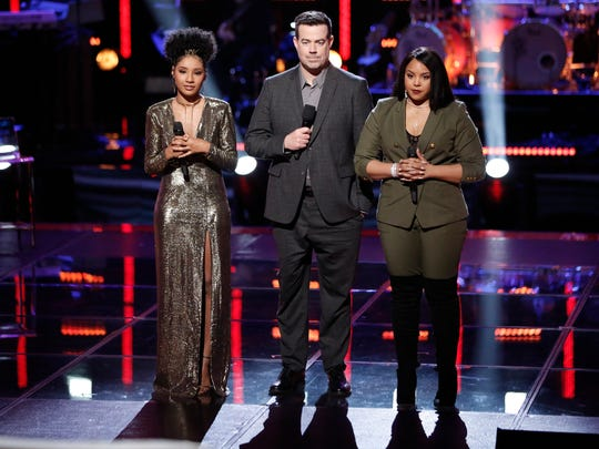 "Newark's Kelsea Johnson (left) with ""The Voice"" host Carson Daly (center) and fellow contestant  Sharane Calister last night."