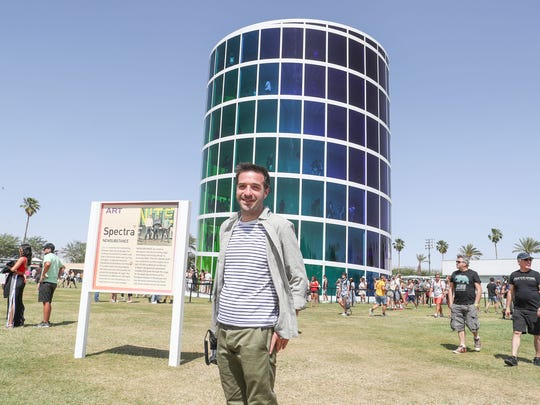 Apr 13, 2018; Indio, CA, USA; Patrick O'Mahoney stands near The Spectra art installation during the Coachella Valley Music and Arts Festival at Empire Polo Club. Mandatory Credit: Jay Calderon/The Desert Sun via USA TODAY NETWORK