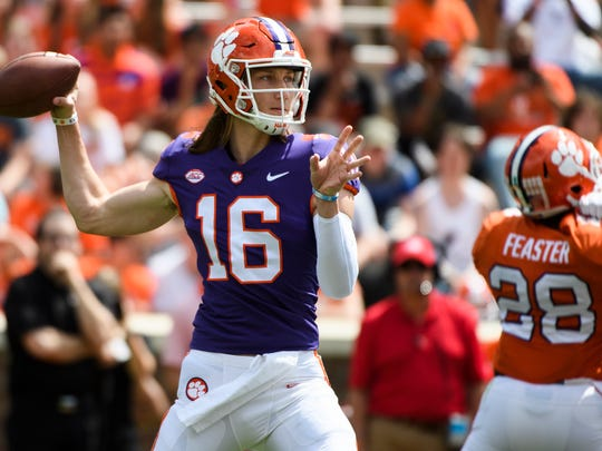 Clemson quarterback Trevor Lawrence (16) throws the ball during the 2018 spring football game on Saturday, April 14, 2018.