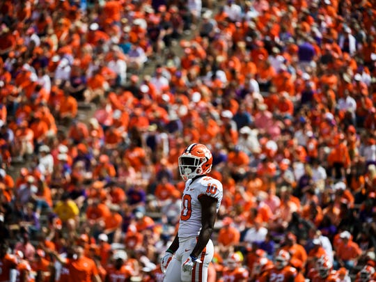 Clemson wide receiver Derion Kendrick (10) during the 2018 spring football game on Saturday, April 14, 2018.