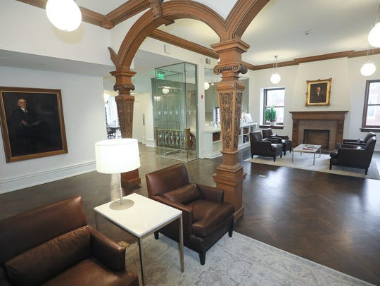 Lounge area outside the library and archival reading rooms at the Edwin Hite Ferguson Mansion in Louisville, KY. Mar. 20, 2018
