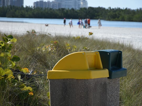 File: Trash bin at Tigertail Beach on Marco Island.