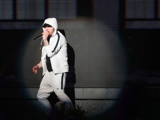 April 15, 2018; Indio, CA, USA; Eminem performs at