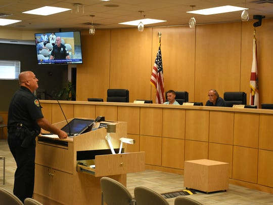 MIPD Officer Clayton Smith reports on the city's beach patrol. The Marco Island Beach and Coastal Resources Advisory Committee met Wednesday morning in the city council chambers.