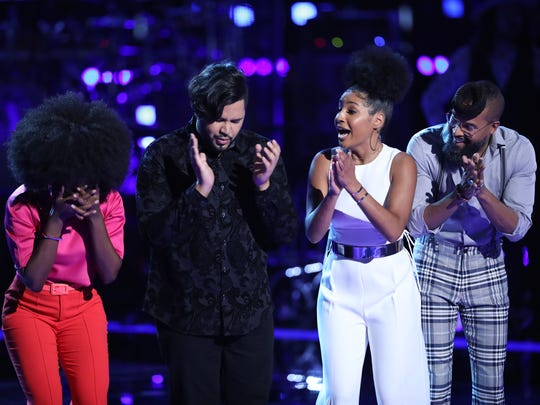 "Newark native Kelsea Johnson (second from right) watches as singer Christiana Danielle is chosen over her in the final moments of ""The Voice"" on Wednesday night."