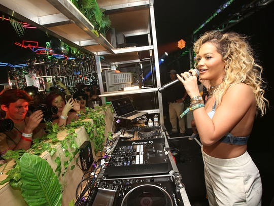 Rita Ora stops by the Absolut Openhouse Tent at the
