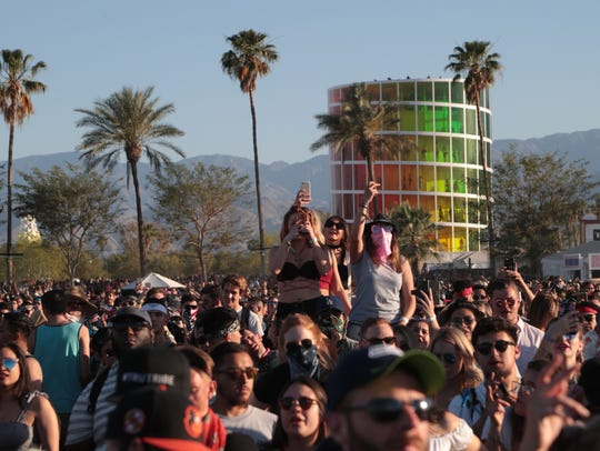 Fans listen to Cardi B perform at the Coachella Valley music and Arts Festival at Empire Polo Club on April 22, 2018.