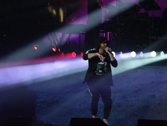 April 22, 2018; Indio, CA, USA; Eminem performs at
