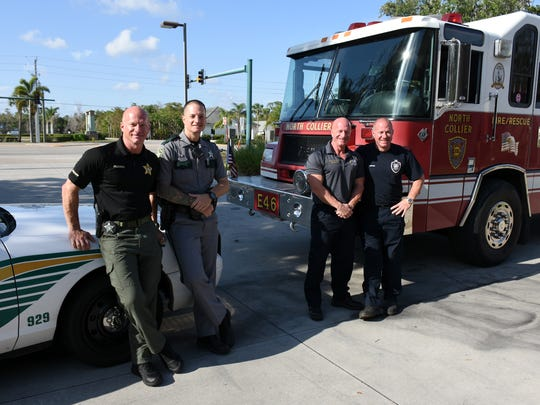 Law officers Anthony and Brian Di Sarro, and firefighters Bill and Adam Di Sarro. The four Di Sarro brothers all chose careers as first responders, two as firefighters and two in law enforcement.