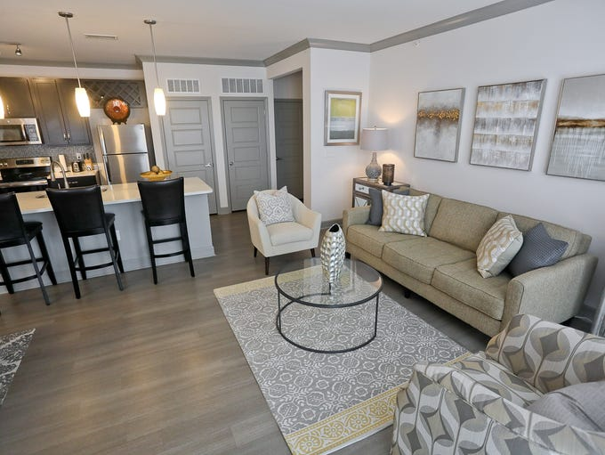 The living room and kitchen at the home of Joel Dansby