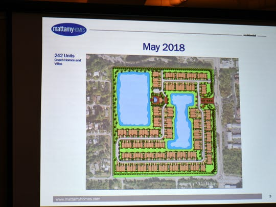 Mattamy Homes displays a proposed development of 242 homes. The Bayshore Gateway Triangle Community Redevelopment Agency advisory board met Tuesday evening to consider local issues.