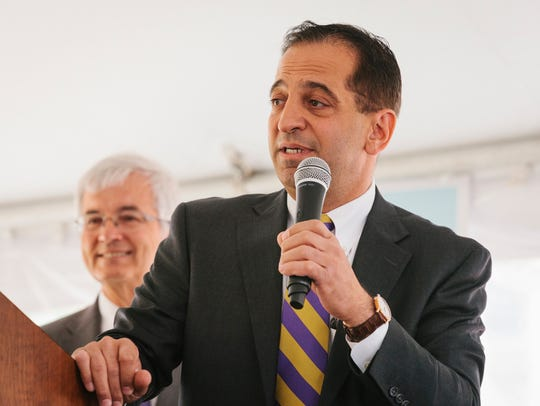 Sam Shaheen speaks during the groundbreaking ceremony