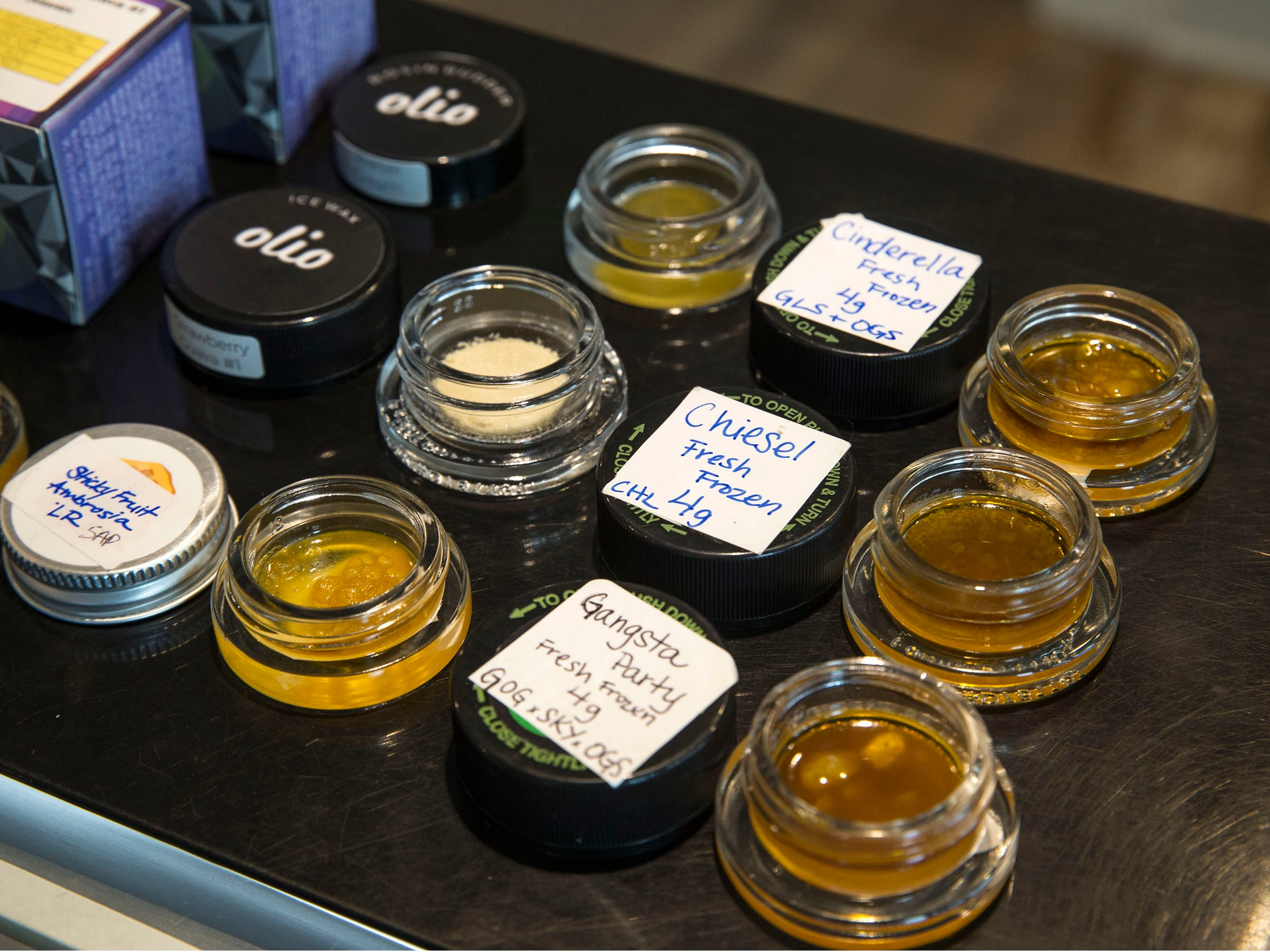Marijuana extracts offered at the dispensary.  Higher