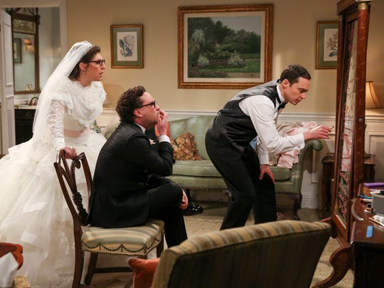 When bride Amy (Mayim Bialik), left, best man Leonard (Johnny Galecki) and groom Sheldon (Jim Parsons) get caught up in a scientific theory, they almost miss their wedding on 'The Big Bang Theory.'