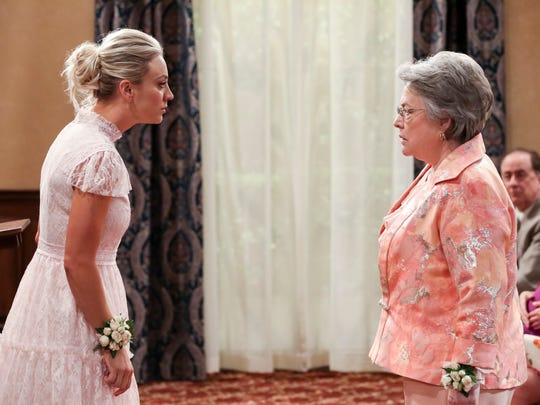 The standoff between Penny (Kaley Cuoco), left, and Mrs. Fowler (Kathy Bates) is a pivotal and funny moment in the Season 11 finale of CBS' 'The Big Bang Theory.'
