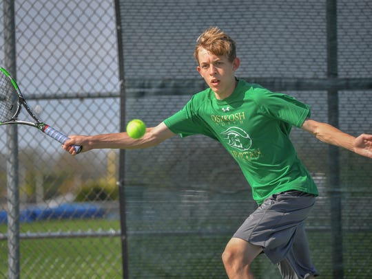 Oshkosh North's Charlie Bock will be competing in his second straight WIAA state tennis tournament.