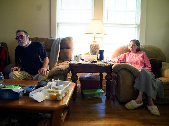 Steve Payne, left, and April Langford talk about Mary Payne in their home on Wednesday, May 9, 2018.