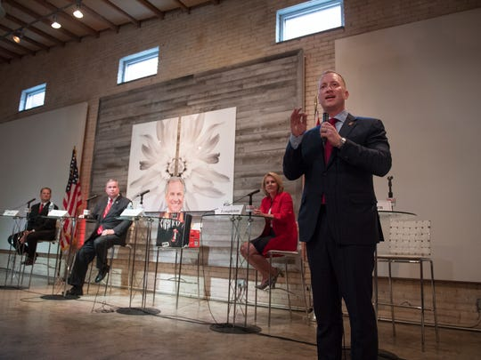 John Warren participates in a debate with other Republican candidates for governor at Zen in Greenville on Monday, May 14, 2018.