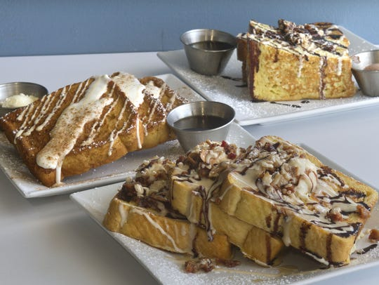 A selection of French toast varieties served at Meemom's, which has restaurants in Wall and Middletown and will open in Brick this fall.