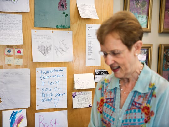 Student notes and drawings are displayed on principal Kerry Bannister's office door at Augusta Circle Elementary School on Monday, May 14, 2018.