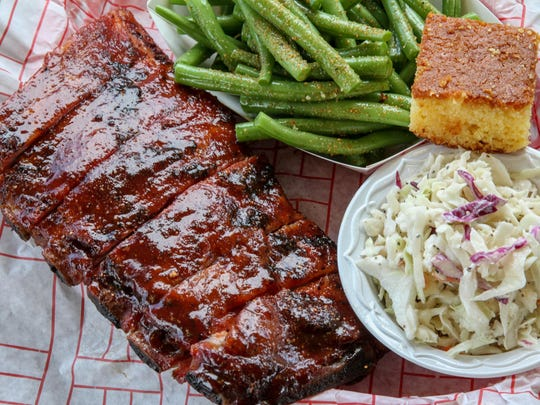 A rib platter at Local Smoke BBQ in Neptune and Red