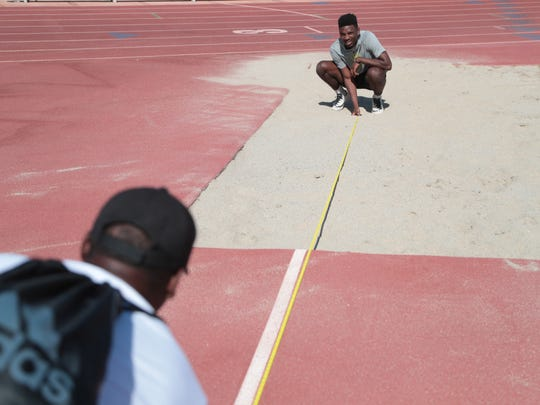 James Green measures a jump during a practice in preparation for Saturday's Master's Meet, Cathedral City, Calif., May 20, 2018.