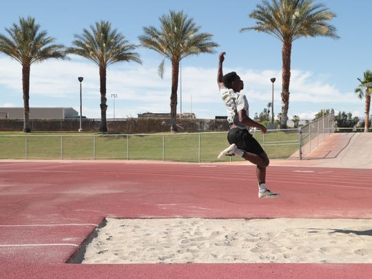 James Green goes through some practice jumps in preparation for Saturday's Master's Meet, Cathedral City, Calif., May 20, 2018.