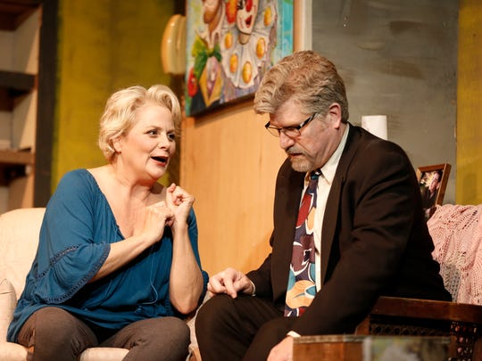 "Lee Ann Manley stars as Maude and Paul Sulzman stars as Lionel in ""Bakersfield Mist,"" on stage through May 27 at the Ojai Art Center Theater."
