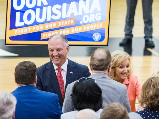 Louisiana Governor John Bel Edwards delivers his opening address for the special session at University of Louisiana in Earl K Long Gymnasium. Tuesday, May 22, 2018.