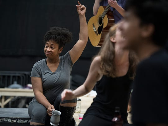 Crystal Stewart portrays Rachel Jackson in the play Bloody Bloody Andrew Jackson during rehearsal at Warehouse Theatre on Tuesday, May 22, 2018.